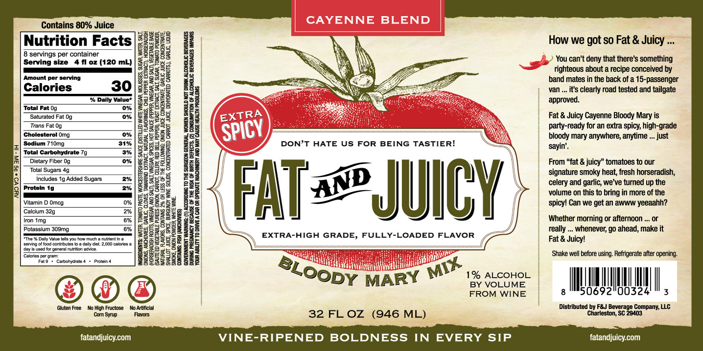 Fat and Juicy Cayenne Bloody Mary Mix Image of Label