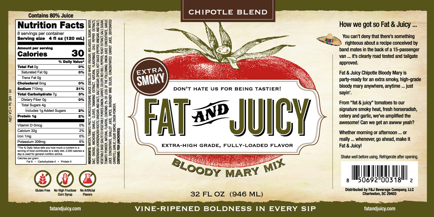 Fat and Juicy Chipotle Bloody Mary Mix Image of Label